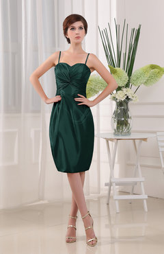Brownish-Green Knee Length Dresses