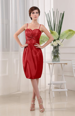 Red Plain Sheath Sleeveless Zip up Knee Length Ruching Mother of the Bride Dresses
