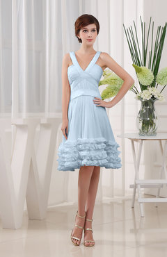 Ice Blue Modest Sleeveless Zipper Knee Length Tiered Club Dresses