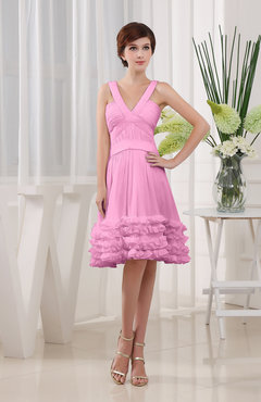 Pink Modest Sleeveless Zipper Knee Length Tiered Club Dresses