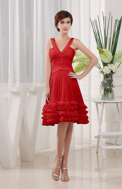 Red Modest Sleeveless Zipper Knee Length Tiered Club Dresses