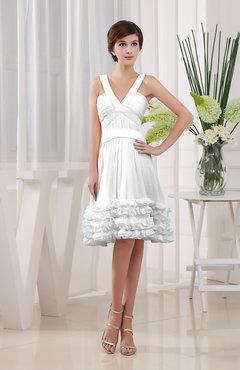 White Modest Sleeveless Zipper Knee Length Tiered Club Dresses