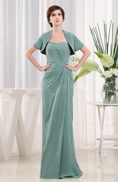 Mint Green Modern Column Strapless Floor Length Ruching Evening Dresses
