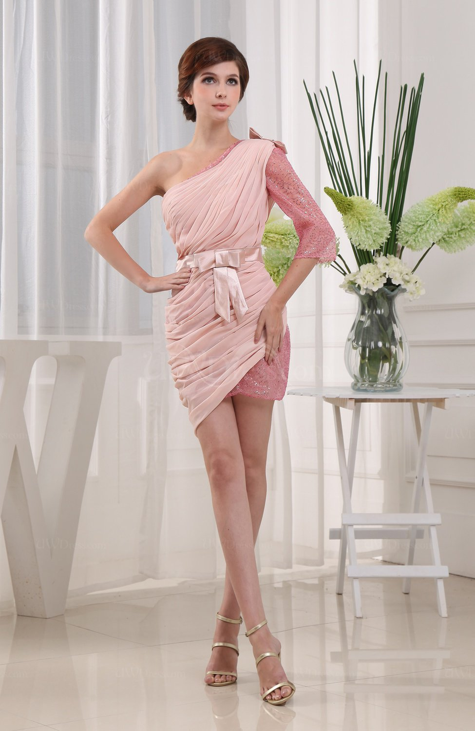 Light Pink Modern Column Half Backless Chiffon Mini Sash Prom ...