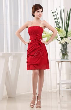 Red Cute Strapless Backless Chiffon Short Cocktail Dresses