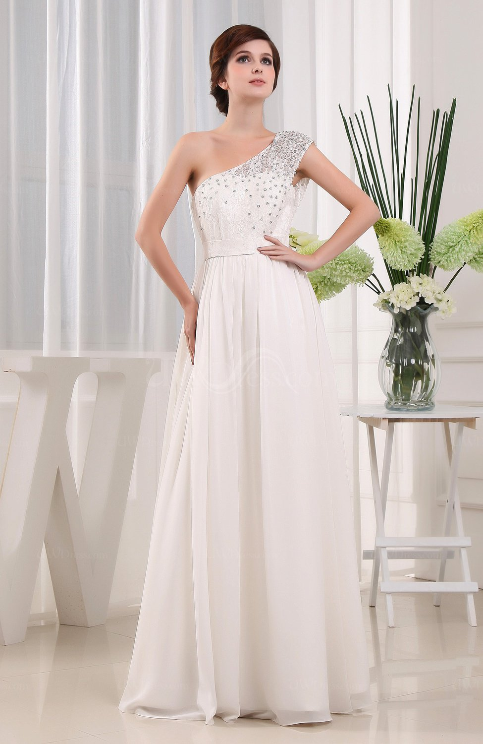 Modest outdoor a line sleeveless zipper chiffon bridal for Wedding dresses for outside