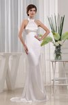 Romantic Garden Sleeveless Zip up Elastic Woven Satin Brush Train Bridal Gowns