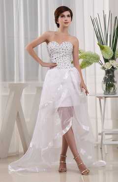White Plain Hall A-line Sweetheart Sleeveless Backless Rhinestone Bridal Gowns