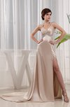 Modest Sheath Halter Sleeveless Elastic Woven Satin Court Train Evening Dresses