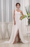Elegant Church Sleeveless Zipper Chiffon Watteau Train Sequin Bridal Gowns