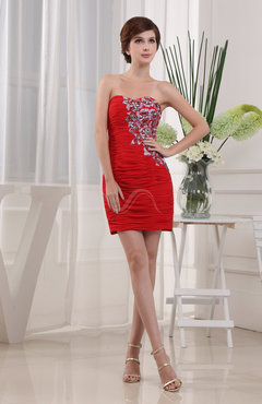 Red Cute Column Sleeveless Zipper Short Rhinestone Graduation Dresses