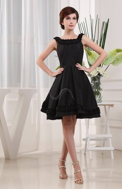 Black Simple A-line Square Sleeveless Zip up Knee Length Cocktail Dresses