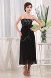 Vintage Strapless Zipper Chiffon Tea Length Lace Little Black Dresses