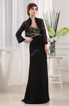 Black Vintage Sheath 3/4 Length Sleeve Chiffon Beading Mother of the Bride Dresses