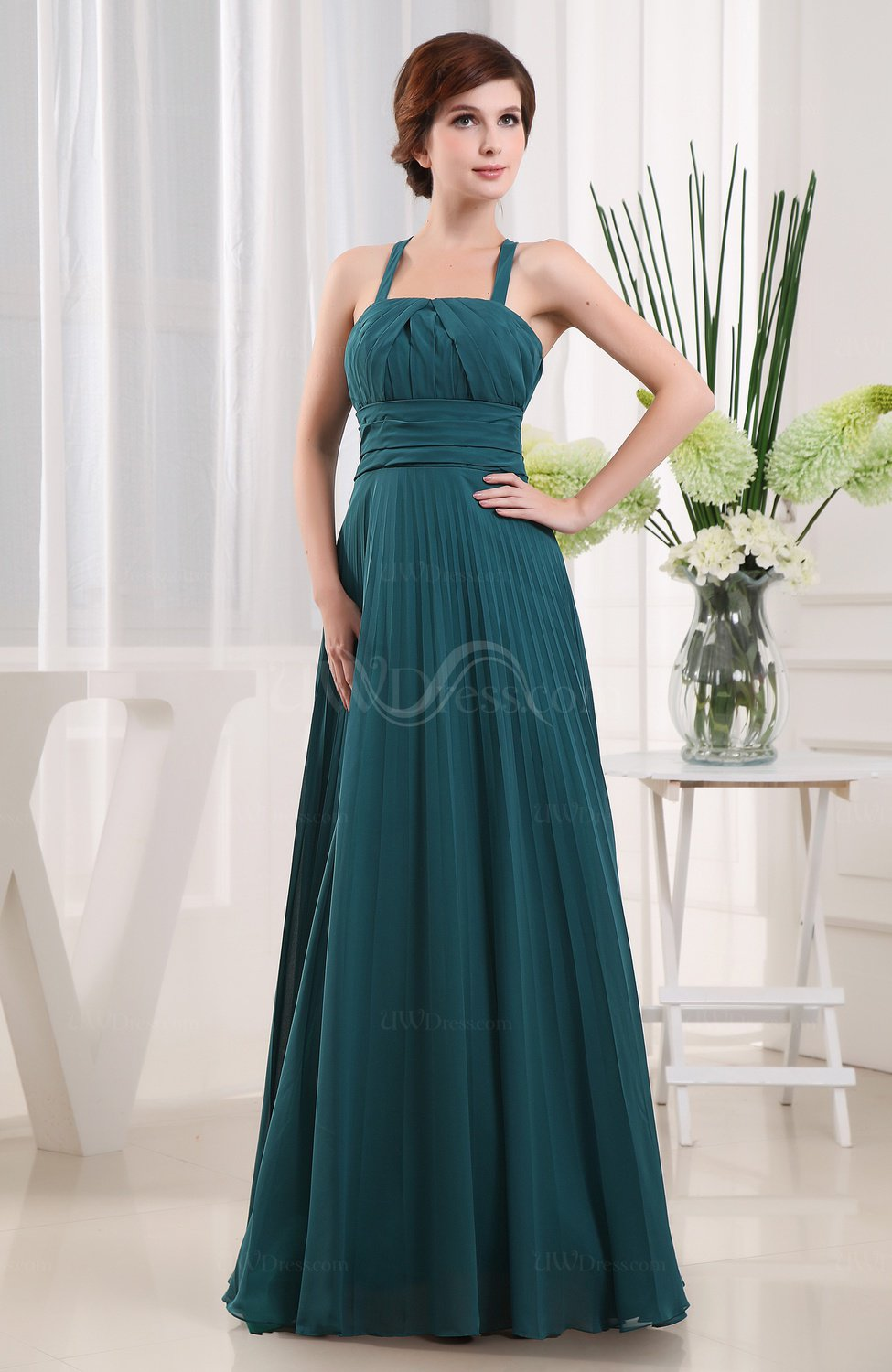 Classic A Line Thick Straps Chiffon Ruching Mother Of The