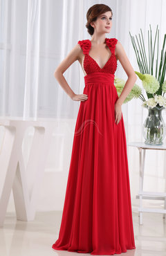 Red Vintage Sleeveless Zip up Chiffon Floor Length Pleated Prom Dresses