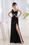 Modest Column Asymmetric Neckline Chiffon Floor Length Split-Front Cocktail Dresses