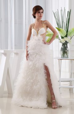 White Romantic Outdoor A-line Criss-cross Straps Organza Tiered Bridal Gowns