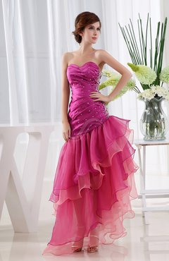 Hot Pink Elegant Sweetheart Sleeveless Criss-cross Straps Ruching Evening Dresses