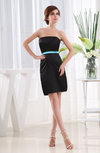 Simple Strapless Sleeveless Elastic Woven Satin Short Homecoming Dresses