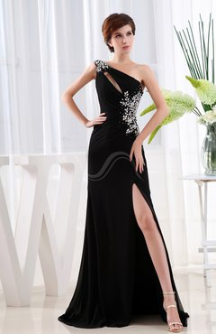 Elegant Sheath Asymmetric Neckline Sleeveless Chiffon Sweep Train Evening Dresses