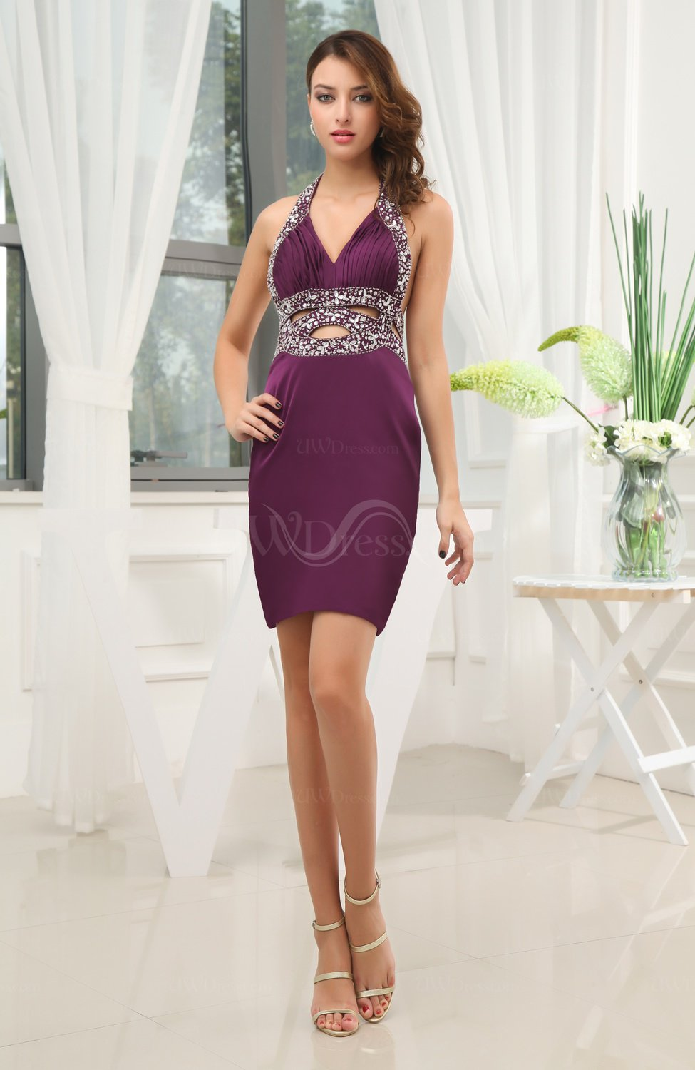 Y Sheath Halter Sleeveless Chiffon Satin Short Wedding Guest Dresses