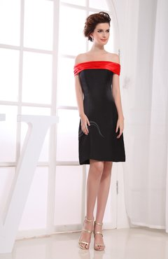 Black Simple Off-the-Shoulder Zipper Knee Length Plainness Bridesmaid Dresses