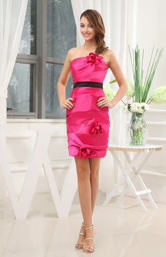 Hot Pink Modest Column Sleeveless Silk Like Satin Short Bridesmaid Dresses