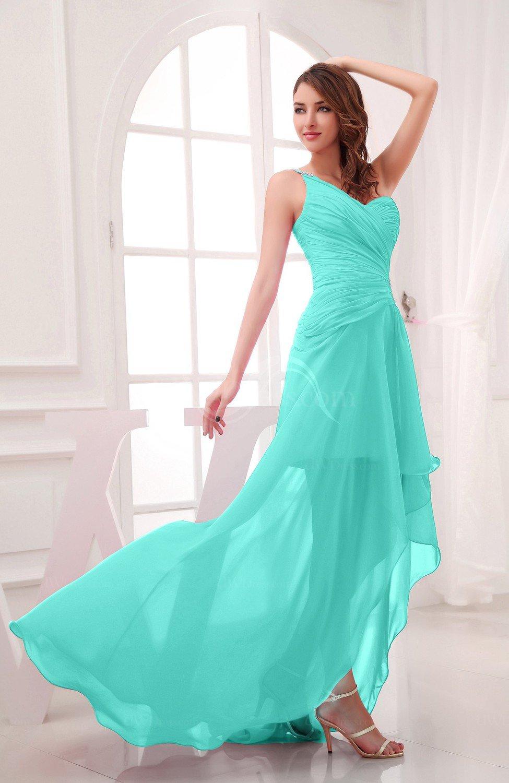 Blue turquoise romantic asymmetric neckline chiffon hi lo for Turquoise wedding guest dress