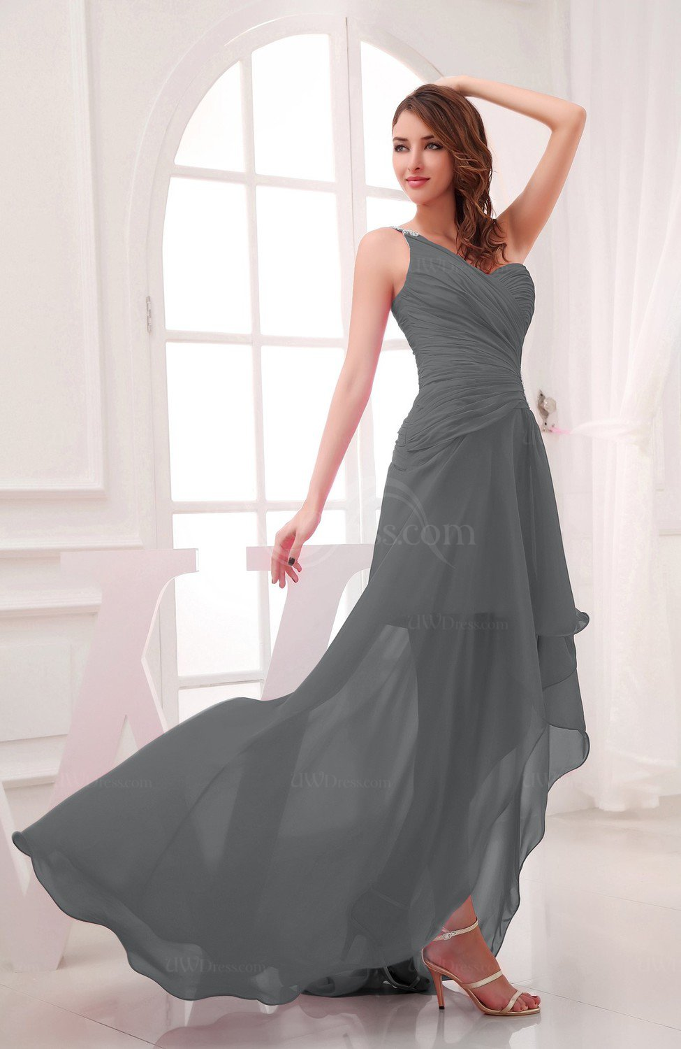 Grey romantic asymmetric neckline chiffon hi lo ruching for Hi lo dress wedding guest