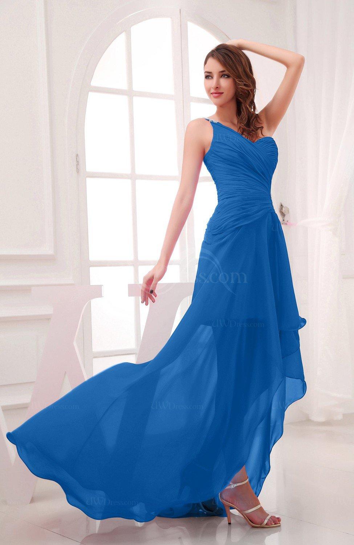 Royal Blue Romantic Asymmetric Neckline Chiffon Hi-Lo Ruching ...