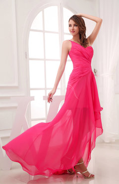 Romantic Asymmetric Neckline Chiffon Hi-Lo Ruching Wedding Guest Dresses