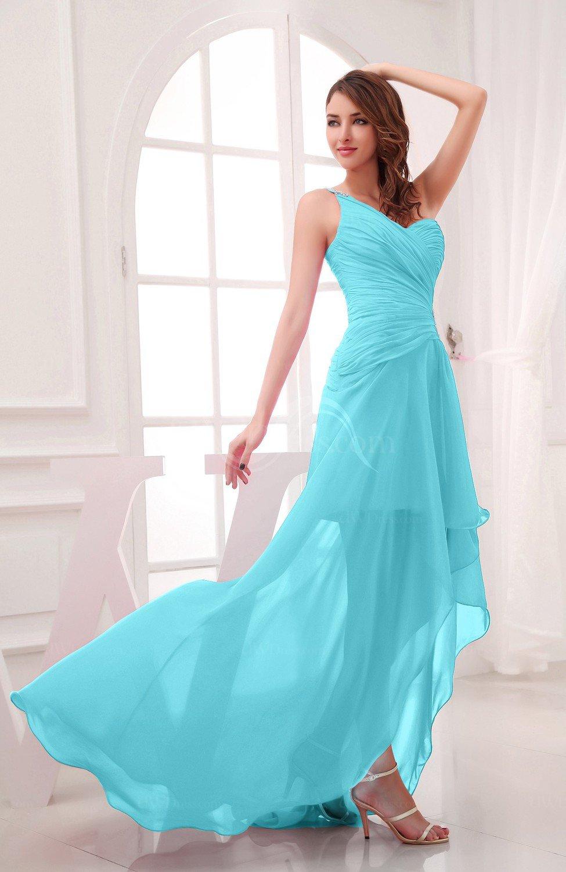 Turquoise romantic asymmetric neckline chiffon hi lo for Turquoise wedding guest dress