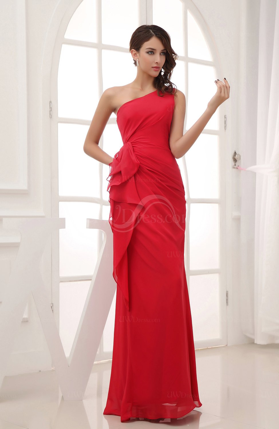 Red modern column sleeveless zipper ruching wedding guest for Modern wedding guest dresses
