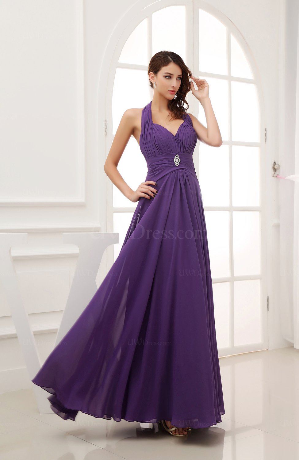 Dark Purple Elegant A Line Backless Chiffon Appliques