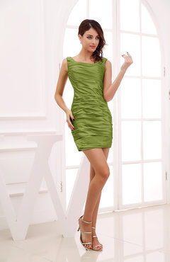 apple green modest column scoop zipper short ruching wedding guest dresses - Apple Green Color