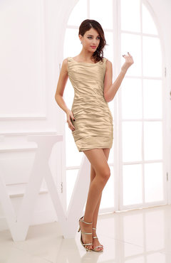 Beige Modest Column Scoop Zipper Short Ruching Wedding Guest Dresses