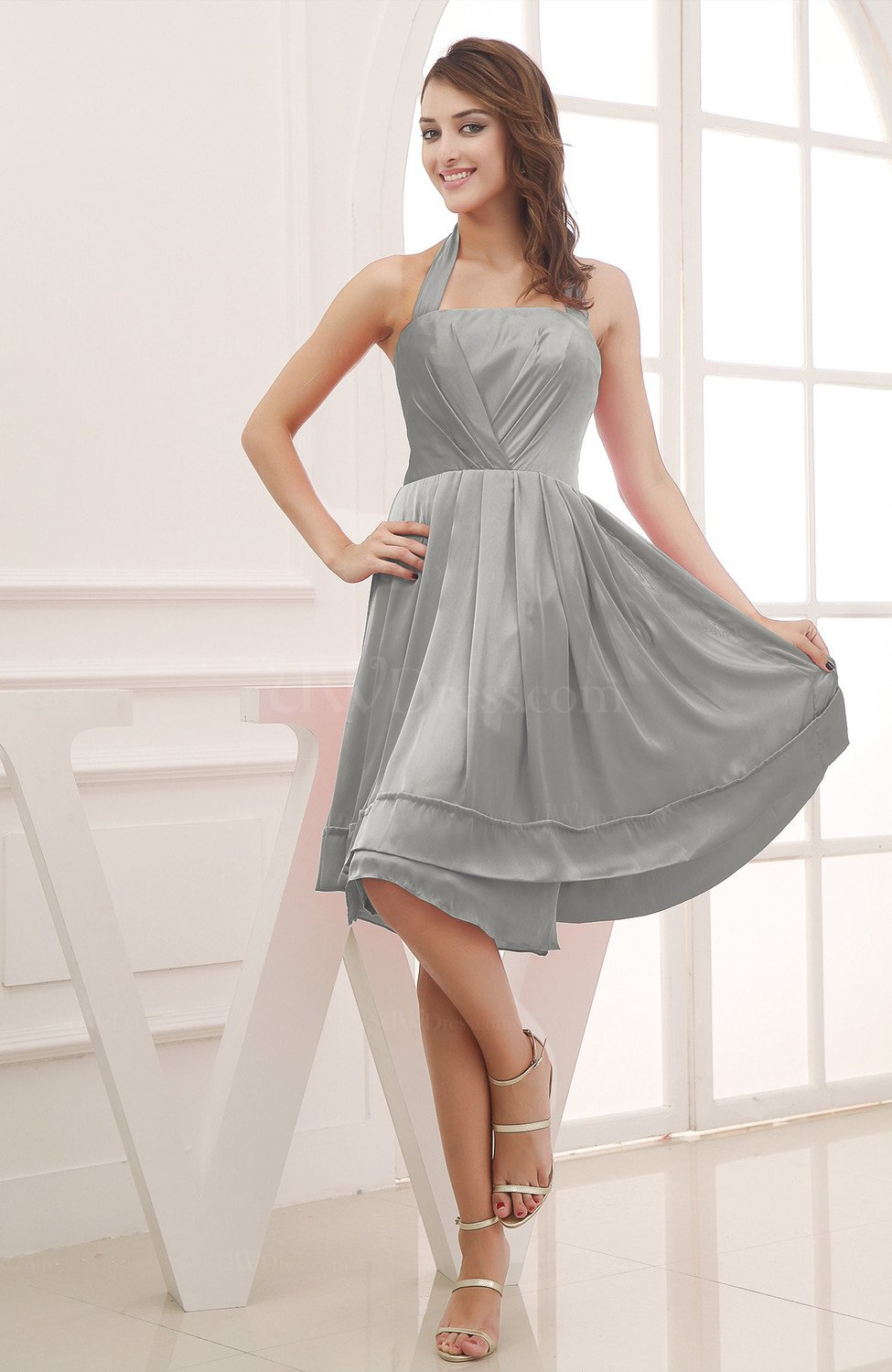 Elegant Grey And White Living Room: Grey Elegant Halter Sleeveless Chiffon Ruching Club