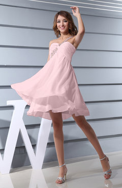 Blush Plain Asymmetric Neckline Sleeveless Chiffon Mini Bridesmaid Dresses