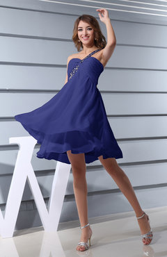 Electric Blue Plain Asymmetric Neckline Sleeveless Chiffon Mini Bridesmaid Dresses