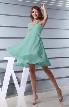 Mint Green Plain Asymmetric Neckline Sleeveless Chiffon Mini Bridesmaid Dresses