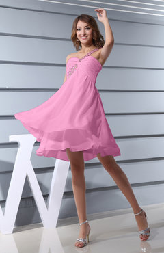 Pink Plain Asymmetric Neckline Sleeveless Chiffon Mini Bridesmaid Dresses