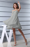 Plain Asymmetric Neckline Sleeveless Chiffon Mini Bridesmaid Dresses
