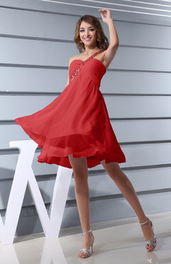 Red Plain Asymmetric Neckline Sleeveless Chiffon Mini Bridesmaid Dresses