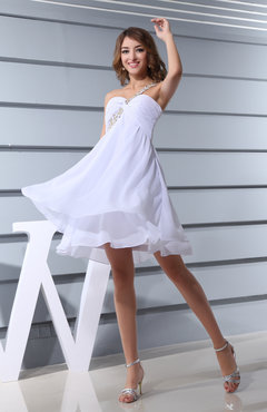 White Plain Asymmetric Neckline Sleeveless Chiffon Mini Bridesmaid Dresses