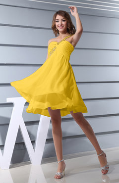 Yellow Plain Asymmetric Neckline Sleeveless Chiffon Mini Bridesmaid Dresses