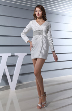 White Modest Long Sleeve Zipper Mini Paillette Wedding Guest Dresses