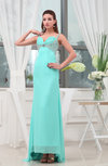 Modest Column Sweetheart Sleeveless Chiffon Brush Train Prom Dresses