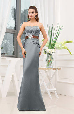 Frost Grey Plain Sheath Sweetheart Zipper Floor Length Ruching Wedding  Guest Dresses