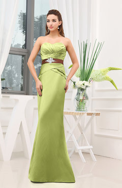 Lime Green Plain Sheath Sweetheart Zipper Floor Length Ruching Wedding Guest Dresses